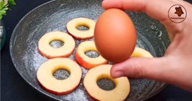 Pyragas ant keptuvės per 15 minučių iš 1 kiaušinio ir obuolio